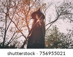 witch in the forest. witch... | Shutterstock . vector #756955021