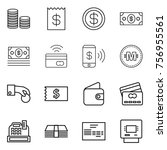 thin line icon set   coin stack ... | Shutterstock .eps vector #756955561