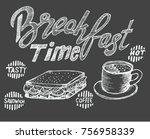 breakfast time  menu sketch | Shutterstock .eps vector #756958339
