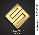 3d golden square elegant logo   Shutterstock .eps vector #756960319