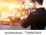 business man use smart phone... | Shutterstock . vector #756967609