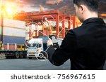 business man use smart phone... | Shutterstock . vector #756967615