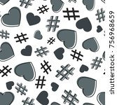 hashtag and heart seamless... | Shutterstock .eps vector #756968659