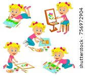 kids  girl drawing collection ... | Shutterstock .eps vector #756972904