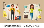 cleaning staff character with... | Shutterstock .eps vector #756973711