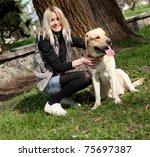 beautiful cheerful woman... | Shutterstock . vector #75697387