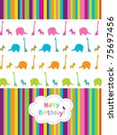 cute birthday's card with African animals - stock vector