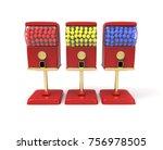 red bubble gum ball vending... | Shutterstock . vector #756978505