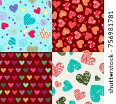 doodle hand drawn pattern... | Shutterstock .eps vector #756981781