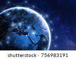 global communication network... | Shutterstock . vector #756983191