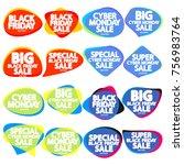 set black friday sale speech... | Shutterstock .eps vector #756983764