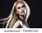 beautiful girl's face close up... | Shutterstock . vector #756985765