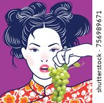 chinese lady eating green grape ... | Shutterstock .eps vector #756989671