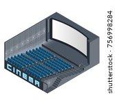 isometric cinema hall | Shutterstock .eps vector #756998284
