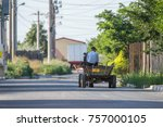 man in a wood carriage. man... | Shutterstock . vector #757000105