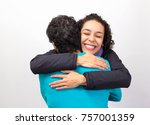 woman with curly short hair is... | Shutterstock . vector #757001359