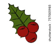 christmas fruits with leaves    ... | Shutterstock .eps vector #757005985