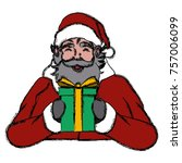 santa claus with gift box  icon | Shutterstock .eps vector #757006099
