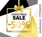 christmas sale  50  banner with ... | Shutterstock .eps vector #757006231