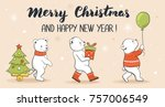 christmas and new year's... | Shutterstock .eps vector #757006549