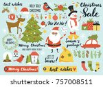christmas and new year's set... | Shutterstock .eps vector #757008511