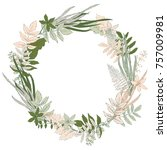 hand drawn forest leaves wreath ... | Shutterstock . vector #757009981
