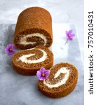 pumpkin swiss roll | Shutterstock . vector #757010431