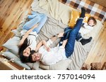 a young family from central asia | Shutterstock . vector #757014094