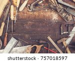 top view retro woodworking... | Shutterstock . vector #757018597