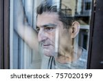 close up portrait of sad and...   Shutterstock . vector #757020199