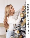 christmas fashion photo of...   Shutterstock . vector #757020451