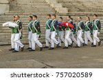 Small photo of MONTEVIDEO, URUGUAY, SEPTEMBER - 2017 - Group of military troop at ceremony