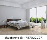 modern bright bed room ... | Shutterstock . vector #757022227