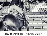 horse and rider in uniform... | Shutterstock . vector #757039147