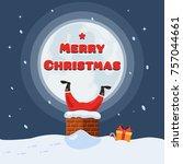 santa claus stuck in the... | Shutterstock .eps vector #757044661