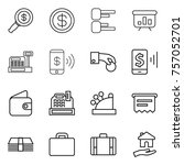 thin line icon set   dollar... | Shutterstock .eps vector #757052701