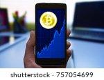 bitcoin growth concept.... | Shutterstock . vector #757054699