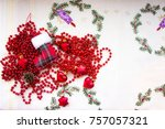 new year's beads and toys with... | Shutterstock . vector #757057321