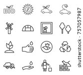 thin line icon set   bio  sun... | Shutterstock .eps vector #757057987