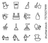 thin line icon set   cleanser ... | Shutterstock .eps vector #757057999