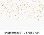 golden tiny confetti and... | Shutterstock .eps vector #757058734