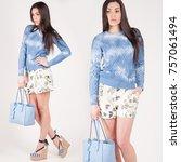 young brunette fashion model... | Shutterstock . vector #757061494