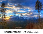 beautiful sunrise over tatra... | Shutterstock . vector #757063261
