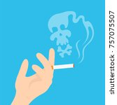 hand with a cigarette and a... | Shutterstock .eps vector #757075507