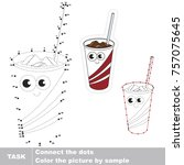 funny paper glass with ice... | Shutterstock .eps vector #757075645