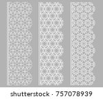 vector set of line borders with ... | Shutterstock .eps vector #757078939