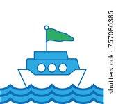 ship transportation with flag... | Shutterstock .eps vector #757080385
