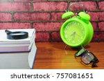 books  desk clock  glasses and... | Shutterstock . vector #757081651