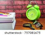 books  desk clock  glasses and... | Shutterstock . vector #757081675