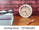 books  desk clock  glasses and... | Shutterstock . vector #757081681